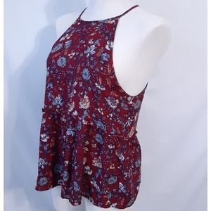 American Eagle Red Floral Trapeze Tank